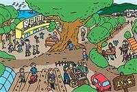 山あいの集落にある子ども園では小浜市内の祖父母世代が保育を担う。親世代は安心して仕事に打ち込める。子どもの遊び場は豊かな森。継続的な植樹によって獣害で荒れた山は緑に。海沿いにリニア新幹線が走り、近未来の技術が自然に溶け込んでいる。