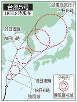 台風5号の5日先予想進路(18日18時現在)