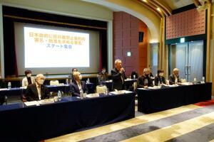 日本政府に核兵器禁止条約に参加するよう働き掛けようと開かれた原水協の集会=29日午前、東京都千代田区