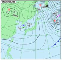 12月28日正午の天気図(気象庁ホームページより)
