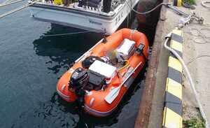 救助されたミニボート(2021年3月・福井県福井市)