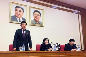 15日、平壌で発言する北朝鮮の崔善姫外務次官(中央の女性)(AP=共同)