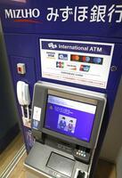 トラブルが起きた、みずほ銀行のATM=28日午後、東京都港区