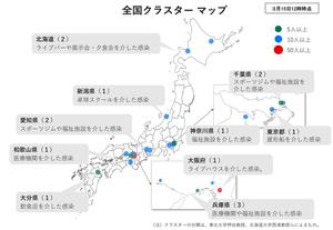 厚生労働省がホームページで公表した全国クラスターマップ(同省HPより引用)