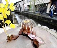 堂田川のカッパ像(1998年) 豊かな水の古里守る 福井モノ語り