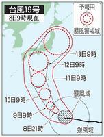台風19号の5日先予想進路(8日9時現在)