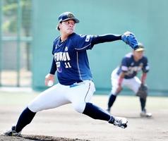 福井―石川 二塁を踏ませない投球で6回まで抑えた福井先発の浜田俊之=福井フェニックススタジアム