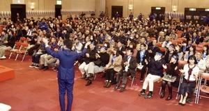 福井県議選に出馬予定の「2世新人」の後援会が開いた集会=3月3日、福井県内