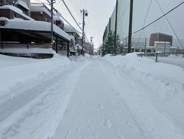 福井県の冬の風景。雪がひどい年もある