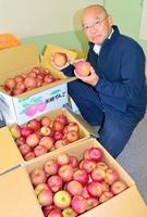 「被災地を応援する気持ちでリンゴを買いに来てほしい」と話す後藤勇一さん=8日、福井市
