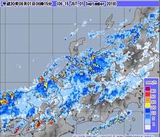9月1日午前6時15分現在の降水状況(気象庁HPより)