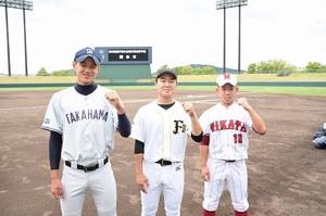 中日本選抜メンバーに選ばれた(左から)松本築、川上建志、谷頭幹太の各選手=17日、福井県営球場