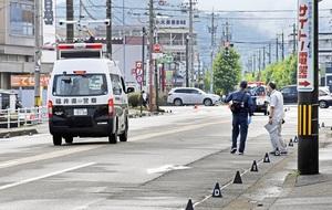 ひき逃げ死亡事故が発生した現場=6月28日午前8時ごろ、福井県福井市米松2丁目